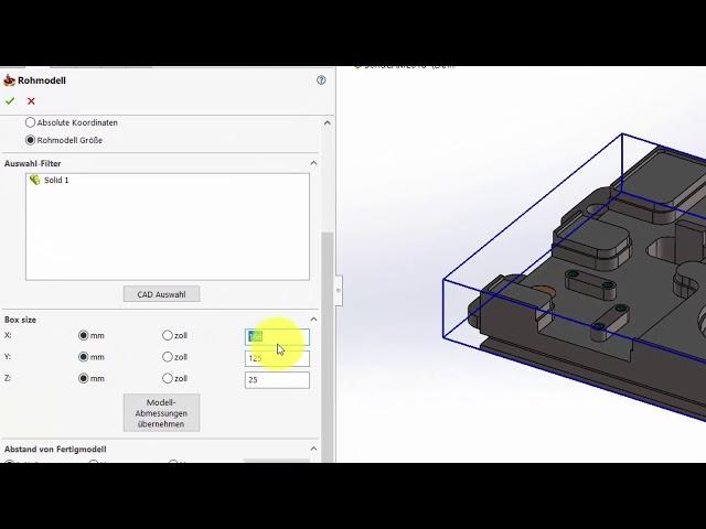 SolidCAM 2018 – Rohmodell Größe