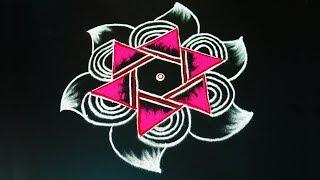 Colour Kolam for navratri    Simple star rangoli art design with 7 x 4 dots How to draw Star muggulu