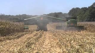 John Deere S680 Combines Harvesting Corn
