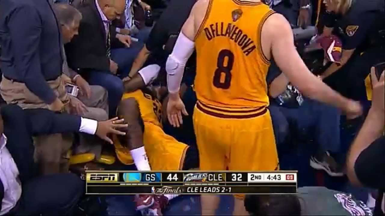 more photos 2e4fc 4b369 LeBron James head injury - falls on camera and bleeds (Game