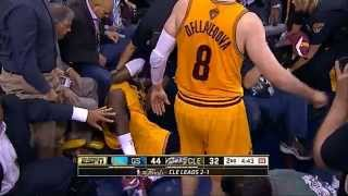 LeBron James' head injury - falls on camera and bleeds (Game 4)
