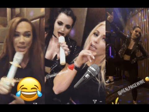 WWE Mandy Rose, Paige, Nia Jax & Sonya Deville Drunk Karaoke (FUNNY)
