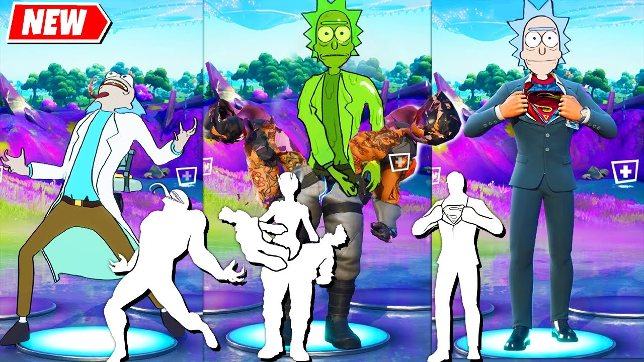 Download Fortnite RICK SANCHEZ Skin (by Rick and Morty) doing all Built-In Emotes!..
