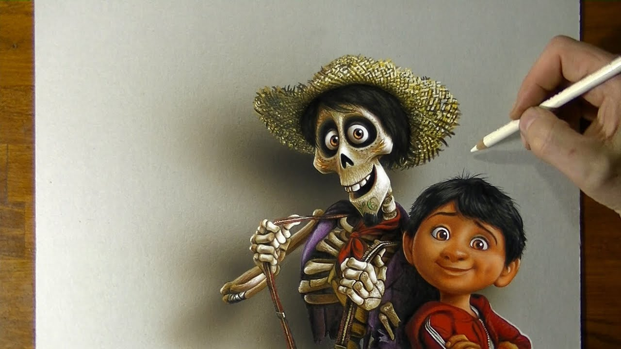 Drawing of Miguel Hector from Coco Disney Pixar YouTube