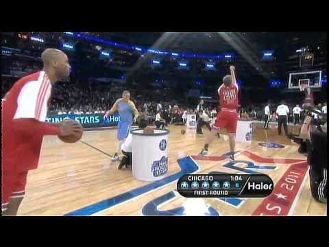 NBA All Star Saturday - Reggie Miller buries Taj Gibson and Kenny Smith