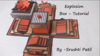 Explosion box - Tutorial | Theme - Valentine/ Black and red | by Srushti Patil