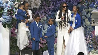 Lauren London and Kids Take Stage at Nipsey Hussle