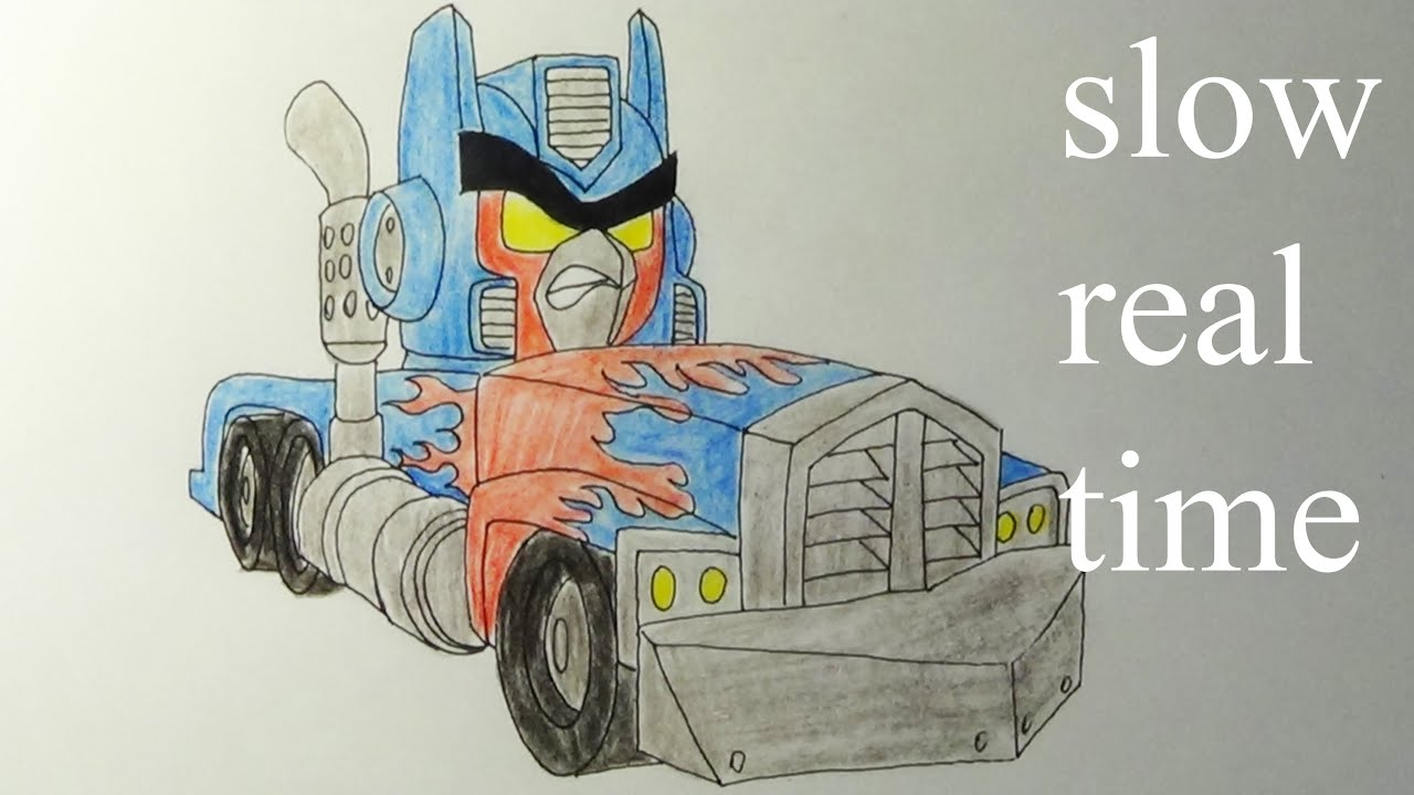 How To Draw Angry Birds Transformers Optimus Prime Real Time Youtube