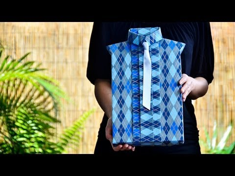 Shirt style gift wrapping youtube for Japanese way to fold shirts