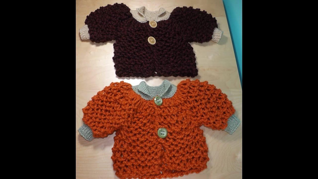 Como tejer abrigo o suéter para bebé a dos agujas - YouTube