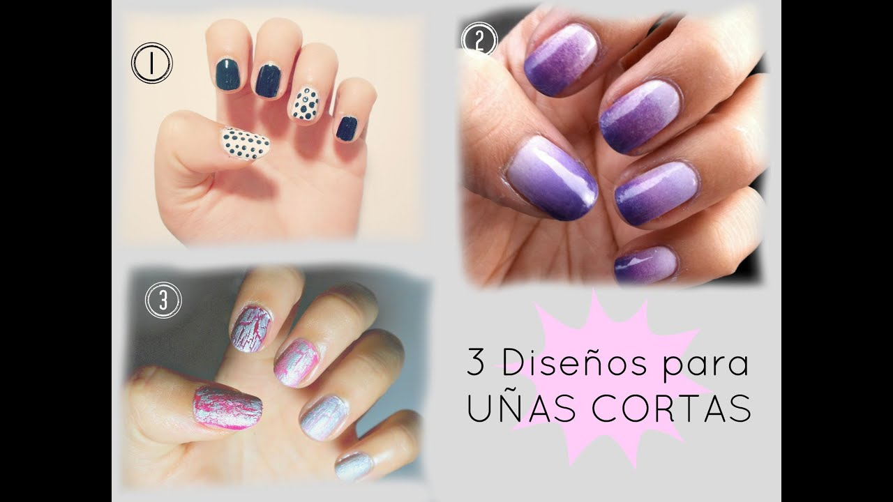 3 dise os para u as cortas 3 designs for short nails - Como pintarse las unas originales ...