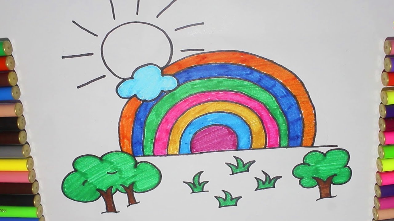 How To Draw A Rainbow On Paper How To Draw A Realistic Rainbow Rainbow Drawing Ideas Youtube