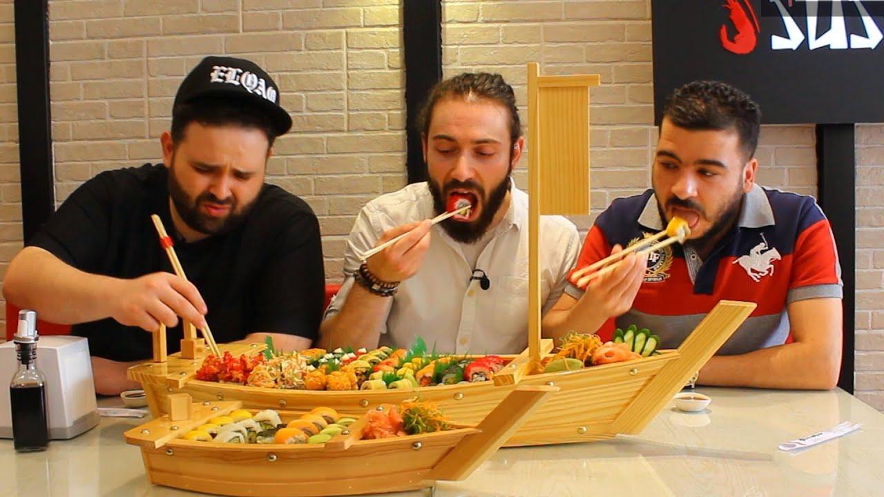 تحدي اكل 200 حبة سوشي !! مع ناجي القاق ومحمد مروان