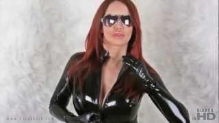 Repeat youtube video Black latex Catsuit & Sunglasses & White Fur (Photoshoot) - Bianca Beauchamp