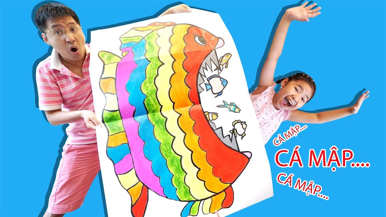 Bé Bún Vẽ Con Cá To ăn thịt Cá Bé bằng Giấy Gấp | How to draw Big Fish Eat Small Fish Folded Paper