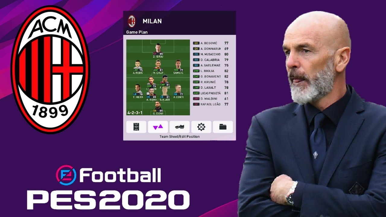 Ac Milan Best Formation And Tactics Pes 2020 Youtube