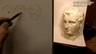Обучение рисунку. Портрет. 1 серия: простейшие наброски голов