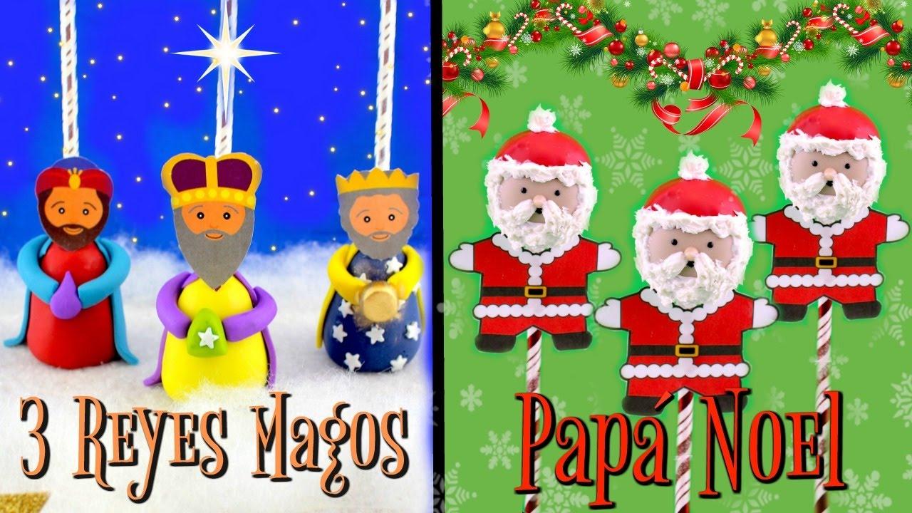 Fotos Papa Noel Reyes Magos.Cake Pops De Navidad Papa Noel O Santa Claus Y Los 3 Reyes Magos