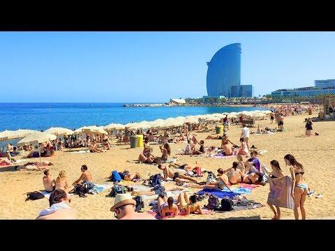Barcelona Walk - Barceloneta Beach Promenade Stroll - Spain