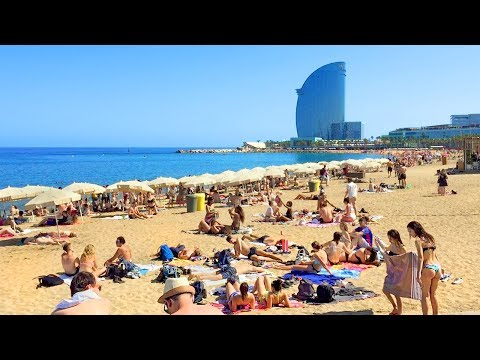 BARCELONA BEACH WALK Along Barceloneta Beach Promenade | Spain