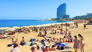 A first-person perspective barcelona walk tour of barceloneta beach along the long promenade that stretches alongside beautiful and busy beach.experience...