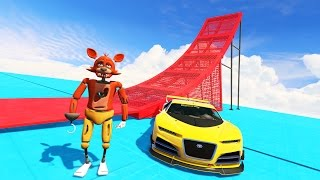 foxy stunts on world s craziest giant ramp can he do it gta 5 mods for kids fnaf funny moments