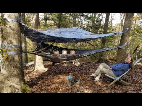 Duct Tape Hammock Tent Camping + Rabbit Catch & Cook (Duct Tape Survival Shelter Challenge)