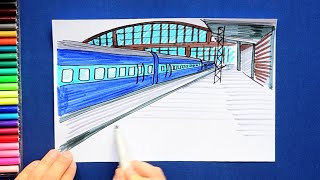 How to draw and color Indian Railways Train and Station