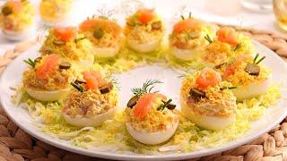 Huevos Rellenos de Salmón muy fáciles, rápidos y deliciosos