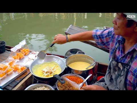 Tha Kha Floating Market - Thai Street Food, Fruits, Boats and Birds in Thailand
