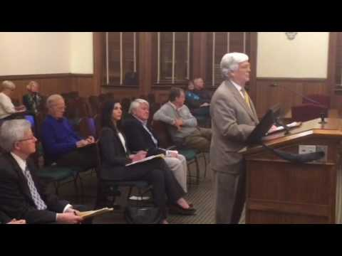 Wilmington attorney Joe Taylor presents a rezoning request for land near the Battleship North Caroli