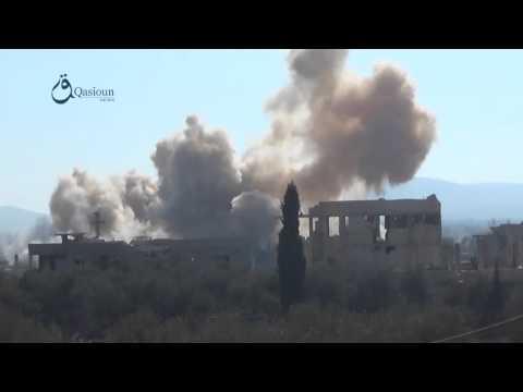 Q.News: Rif Dimashq: huge explosion caused by a barrel bomb in Muadamyat Al-Sham city 16-1-2016