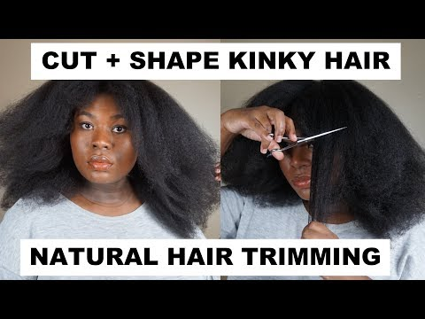 How To (Prt. 2): TRIM NATURAL KINKY TYPE 4 BLOW OUT HAIR | Bubs Bee