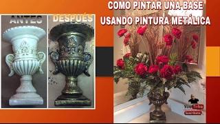 BASE DE YESO //PINTURAS ACRÍLICAS//HERMOSO JARRÓN CON FLORES