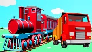Truck City: train, excavator, crane & giant slide | Construction game cars & trucks cartoon for kids