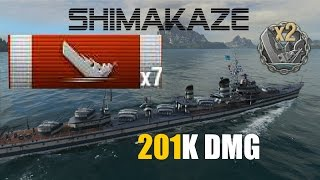 Tier X - SHIMAKAZE - 7 Kills | 201K DMG -World of Warships