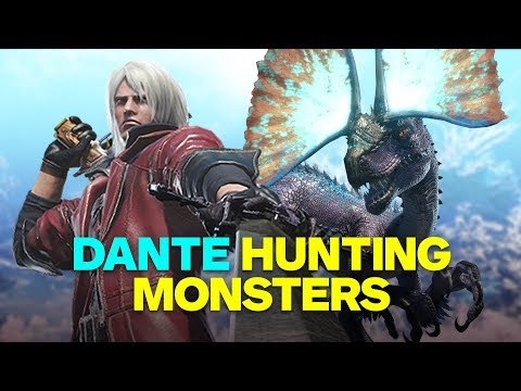 4 Minutes of Devil May Cry's Dante in Monster Hunter World Gameplay