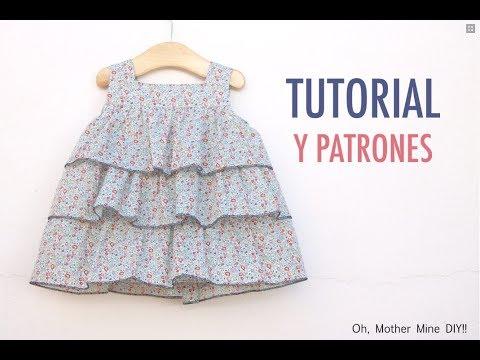 b176dcfe2 Aprender a coser: vestido de volantes para niñas (patrones gratis tallas  hasta 7 años)