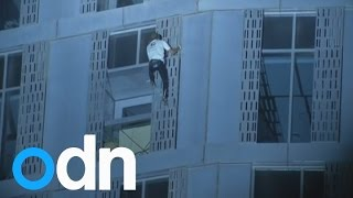 French 'spiderman' Alain Robert scales Dubai's Cayan Tower