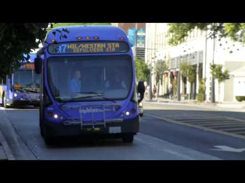 Big Blue Bus: 2012 NABI 60-BRT CNG Route R7 #5316 & 2014 Gillig-BRT CNG Route R3 #1345 at 4th St