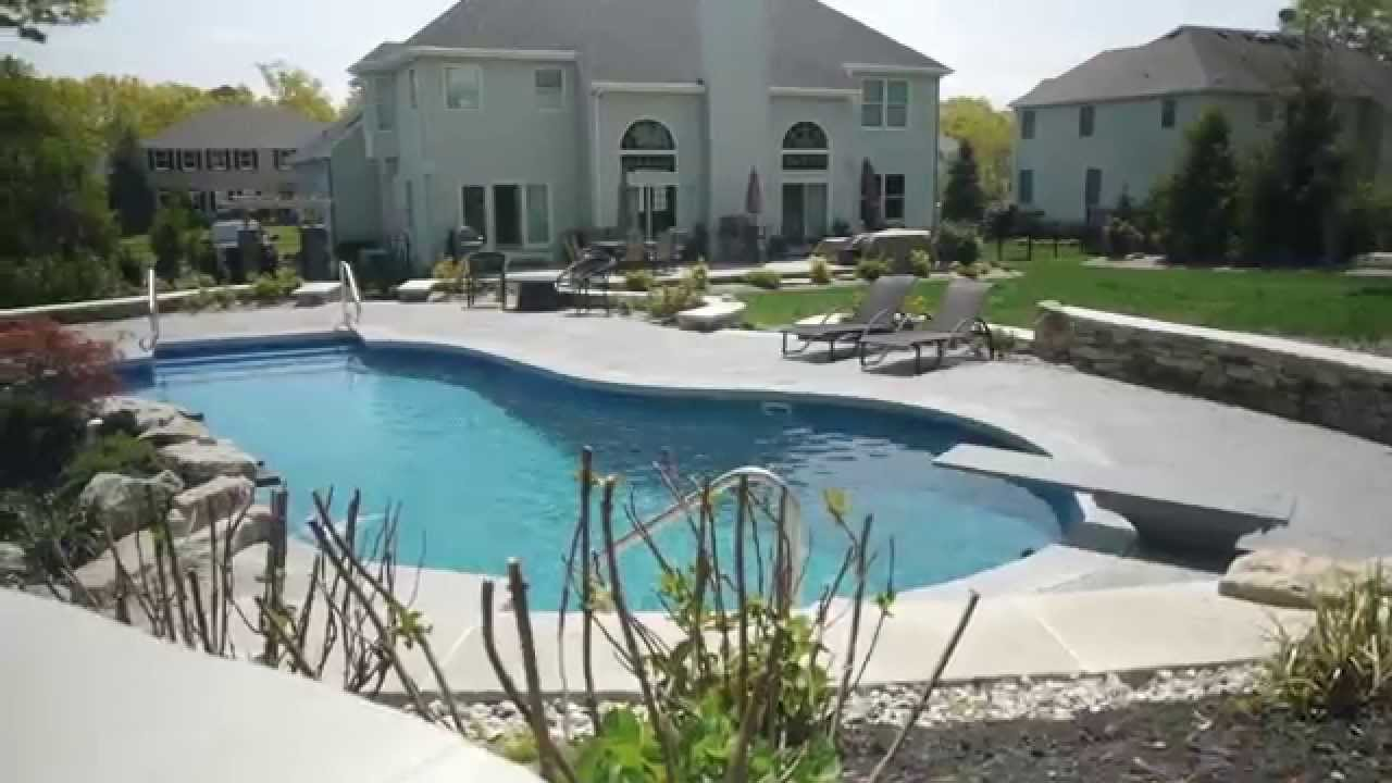 A New Blue Lagoon Style Inground Pool In Wall Nj Youtube