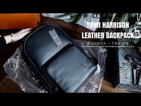 TUMI HARRISON WEBSTER MEN LEATHER BACKPACK UNBOXING + TRY ON - YouTube 12accbeb9358b
