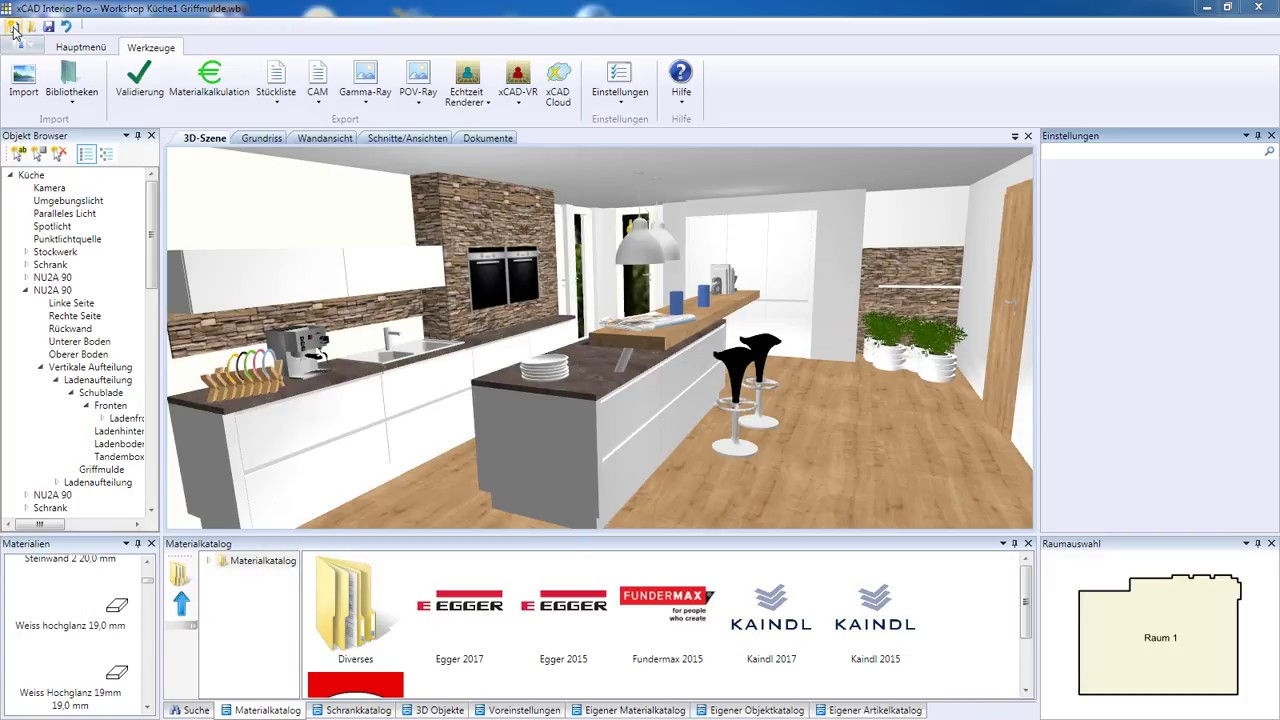 Xcad 3d Raumplaner Workshop Einer Küchenplanung Youtube