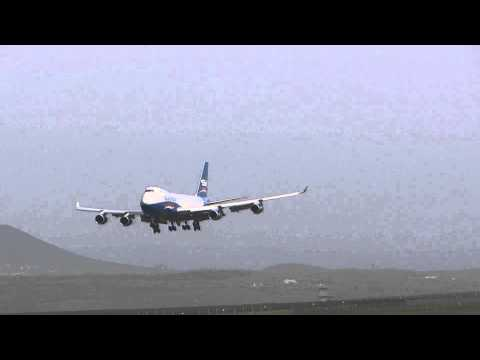 Silk Way Boeing 747-400F landing at Burgas, Bulgaria