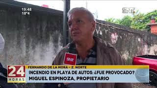 Fdo. de la Mora: Incendio en playa de autos
