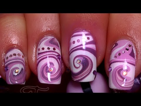 Nail Art Water Marble Swirl Design Spirale Youtube