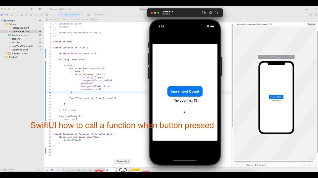 How to Call a Function When Button Pressed in SwiftUI