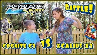 Beyblade Burst Evolution Xcalius X3 vs Cognite C3 Battle | Mom vs Son | Hasbro Kid Toys