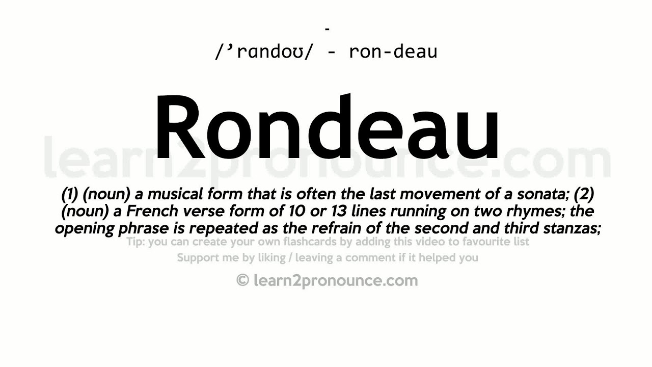 Rondeau pronunciation and definition - YouTube