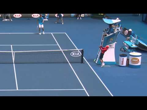 Ball Kid Gets Hit In The Face | Australian Open 2014